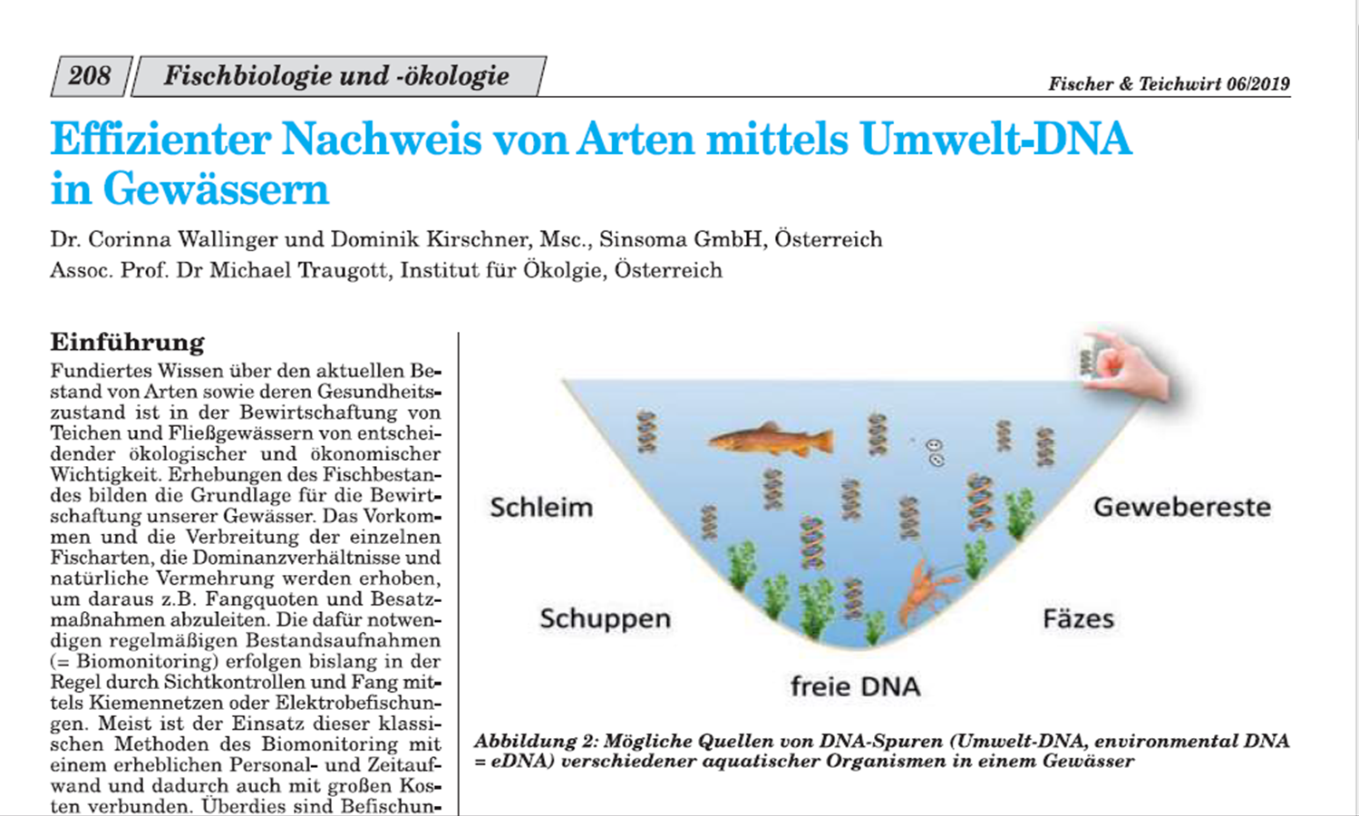 Effizienter Nachweis von Arten mittels eDNA in Gewässern
